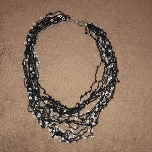 Black Necklace with Small Beads & Sequins.